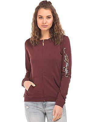 EdHardy Women Embellished Back Zip Up Sweatshirt