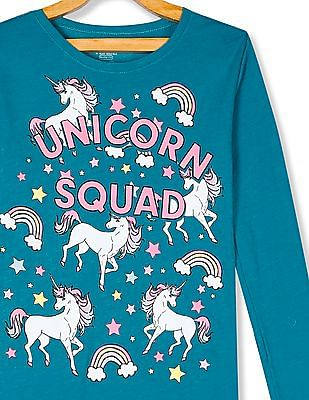 The Children's Place Girls Green Long Sleeves 'Unicorn Squad' Graphic T-Shirt