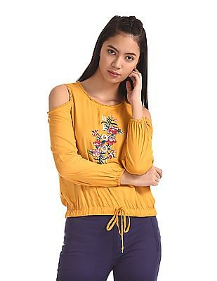 SUGR Yellow Embroidered Cold Shoulder Top