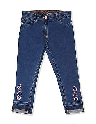U.S. Polo Assn. Kids Girls Step Up Hem Embroidered Jeans