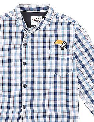 Donuts Boys Mandarin Collar Check Shirt