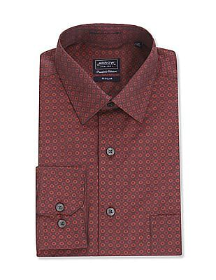 Arrow Red Regular Fit Patterned Shirt