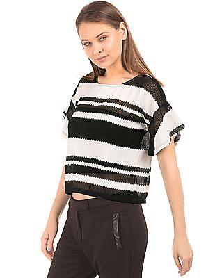 Elle Open Knit Striped Boxy Top