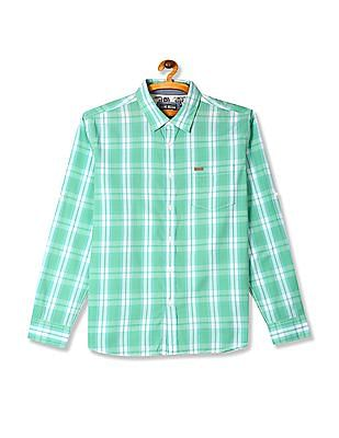 Flying Machine Green Roll Up Sleeve Check Shirt