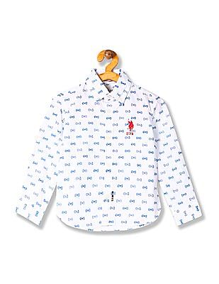 U.S. Polo Assn. Kids Boys Bow Print Cotton Shirt