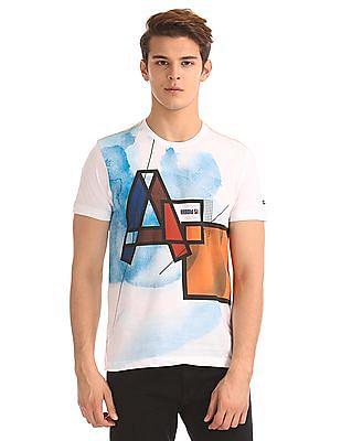 Arrow Sports Regular Fit Printed Front T-Shirt