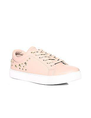 Stride Pink Stud Embellished Low Top Sneakers