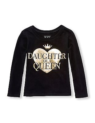 The Children's Place Toddler Girl Long Sleeve 'Daughter Of A Queen' Matching Family Graphic Tee