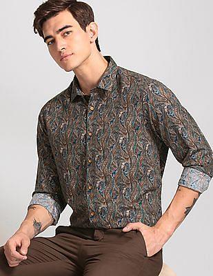 True Blue Brown Slim Fit Paisley Print Shirt