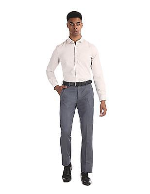 Excalibur Blue Slim Fit Patterned Weave Trousers