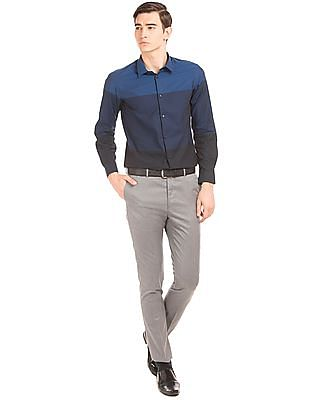 Arrow Newyork Colour Block Skinny Fit Shirt