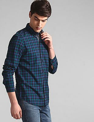 GAP Blue Check Cotton Stretch Shirt