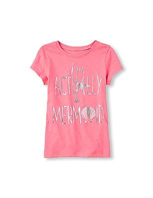 The Children's Place Girls Short Sleeve 'I'm Actually A Mermaid' Graphic Tee