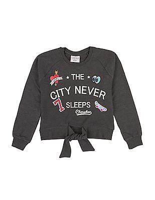 Cherokee Girls Tie-Up Waist Printed Sweatshirt