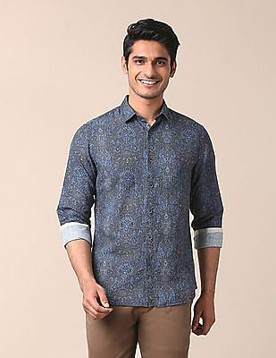 True Blue Printed Cotton Linen Shirt