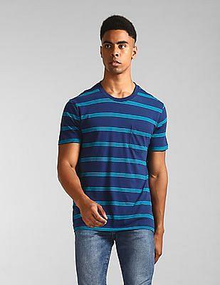GAP Blue Crew Neck Striped T-Shirt