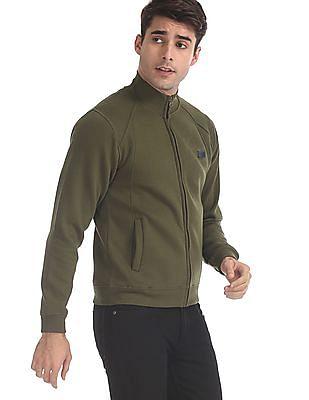 Flying Machine Green High Neck Solid Sweatshirt