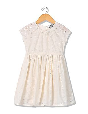 Cherokee Girls Schiffli Embroidered Fit And Flare Dress