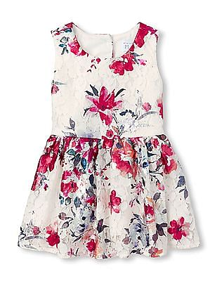 The Children's Place Toddler Girls Sleeveless Foil Floral Print Lace Dress