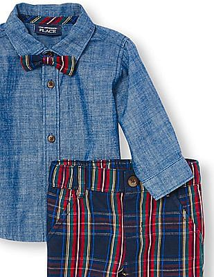 The Children's Place Baby Boys Long Sleeve Chambray Button-Down Shirt, Plaid Bow Tie And Pants Set