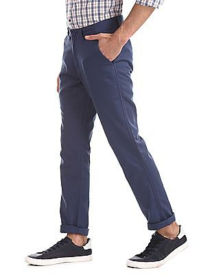 Ruggers Blue Urban Slim Fit Solid Trousers