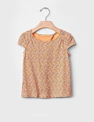 GAP Toddler Girl Orange Printed Tulip-Back Top