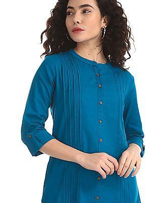 Karigari Blue Mandarin Collar Tucked Kurta