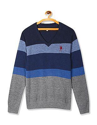 U.S. Polo Assn. Blue Striped Lambswool Sweater