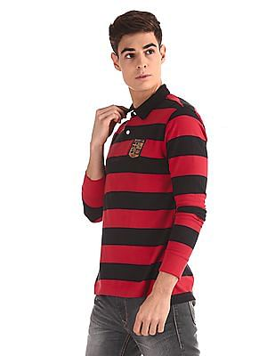 Flying Machine Red Long Sleeve Striped Polo Shirt