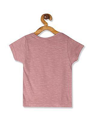 Donuts Pink Girls Embellished Front Cotton T-Shirt
