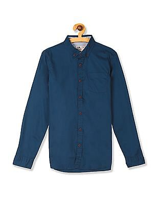 FM Boys Blue Button Down Collar Solid Shirt