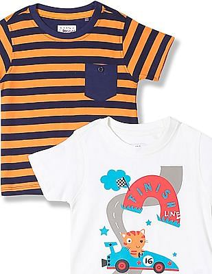 Donuts Boys Crew Neck T-Shirt - Pack Of 2