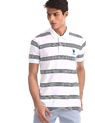 U.S. Polo Assn. White Striped Pique Polo Shirt