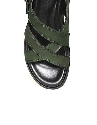 Arrow Cross Strap Leather Sandals