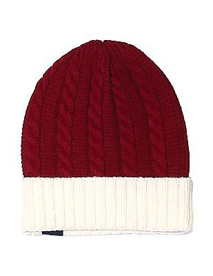 Cherokee Red Upturned Hem Cable Knit Beanie