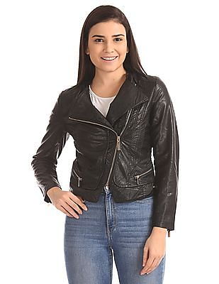U.S. Polo Assn. Women Asymmetric Zipper Solid Biker Jacket
