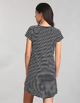 GAP Women Blue Short Sleeve Pocket T-Shirt Dress