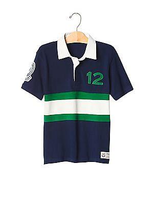 GAP Boys Blue Rugby Short Sleeve Polo