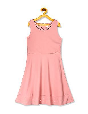The Children's Place Girls Sleeveless Rhinestud Woven Ponte Dress