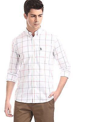 U.S. Polo Assn. White Button Down Collar Windowpane Check Shirt