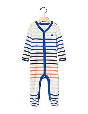GAP Baby Multi Colour Stripe Footed One-Piece
