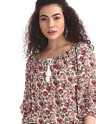 Cherokee Multi Colour Floral Print Blouson Top