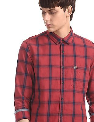 U.S. Polo Assn. Denim Co. Red Rounded Cuff Check Shirt
