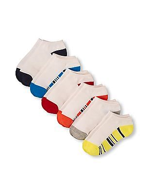 The Children's Place Boys Striped And Solid Sole Ankle Socks 6-Pack