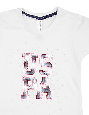 U.S. Polo Assn. Kids Girls Embellished Cotton T-Shirt