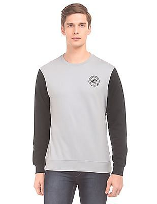 Flying Machine Colour Block Crew Neck Sweatshirt