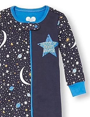 The Children's Place Baby And Toddler Boy Blue Long Sleeve 'Center Of Mom's Universe' Space Split Print Footed Stretchie