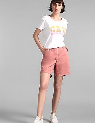GAP Pink Mid Rise Girlfriend Chino Shorts