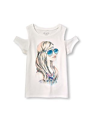 The Children's Place Girls White Short Sleeve Embellished Graphic Cold-Shoulder Top