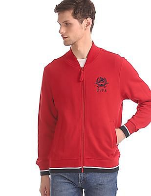 U.S. Polo Assn. Red Stand Collar Solid Sweatshirt